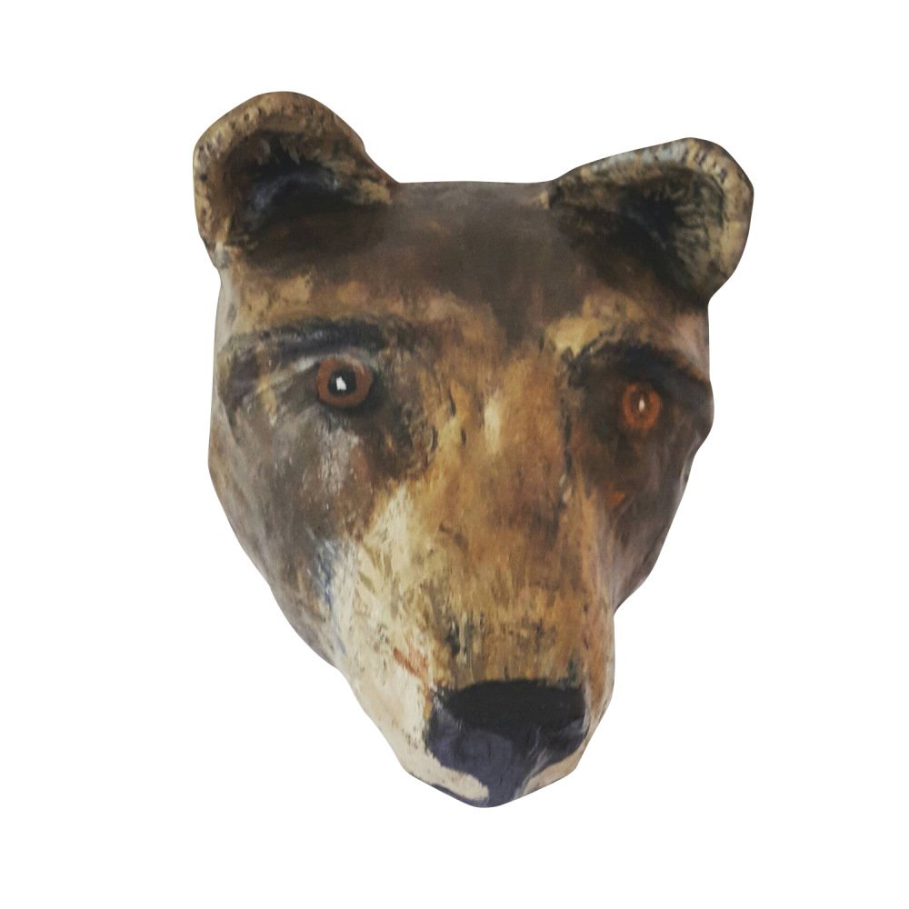 Paper mache grizzly bear head img1