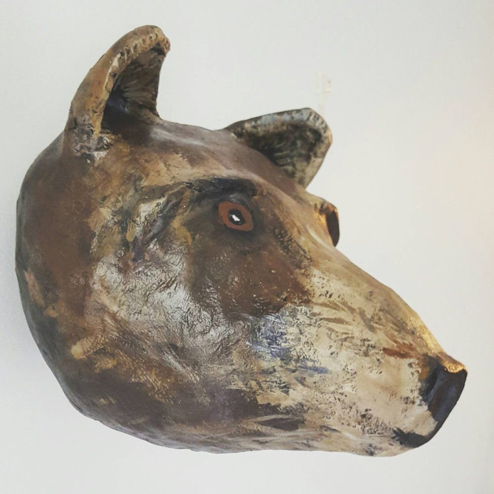 Paper mache grizzly bear head img2