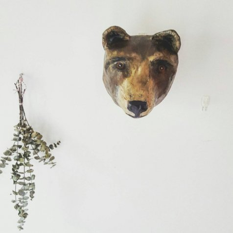 Paper mache grizzly bear head