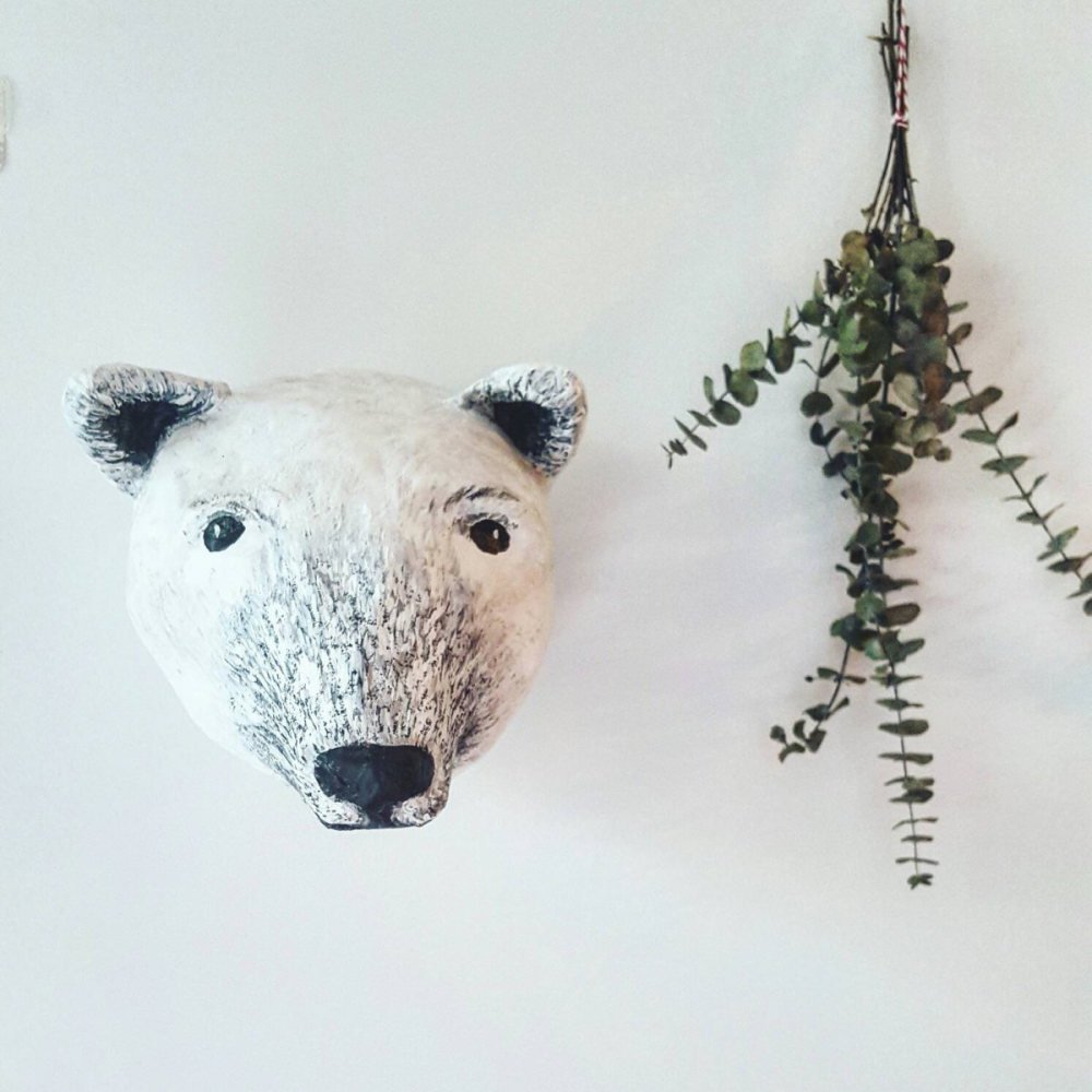 Paper mache polar bear head img