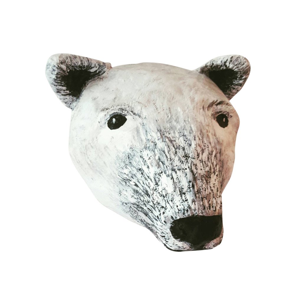 Paper mache polar bear head img1