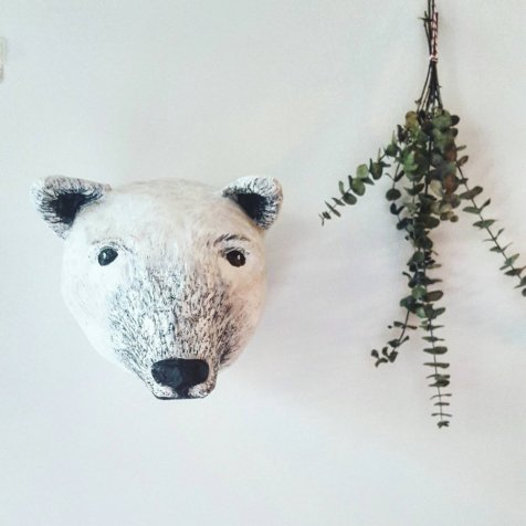 Paper mache polar bear head