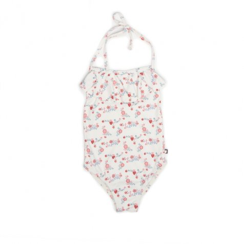【MORE SALE 50%OFF】HALTER BATHING SUIT white/flowers