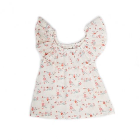 【春夏物セール30%OFF】RUFFLE BLOUSE white/flowers