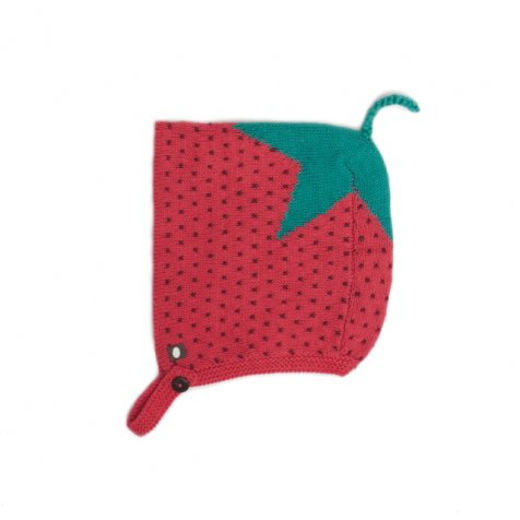 STRAWBERRY HAT red/burbundy/dots