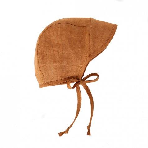Brimmed bonnet Rust Linen