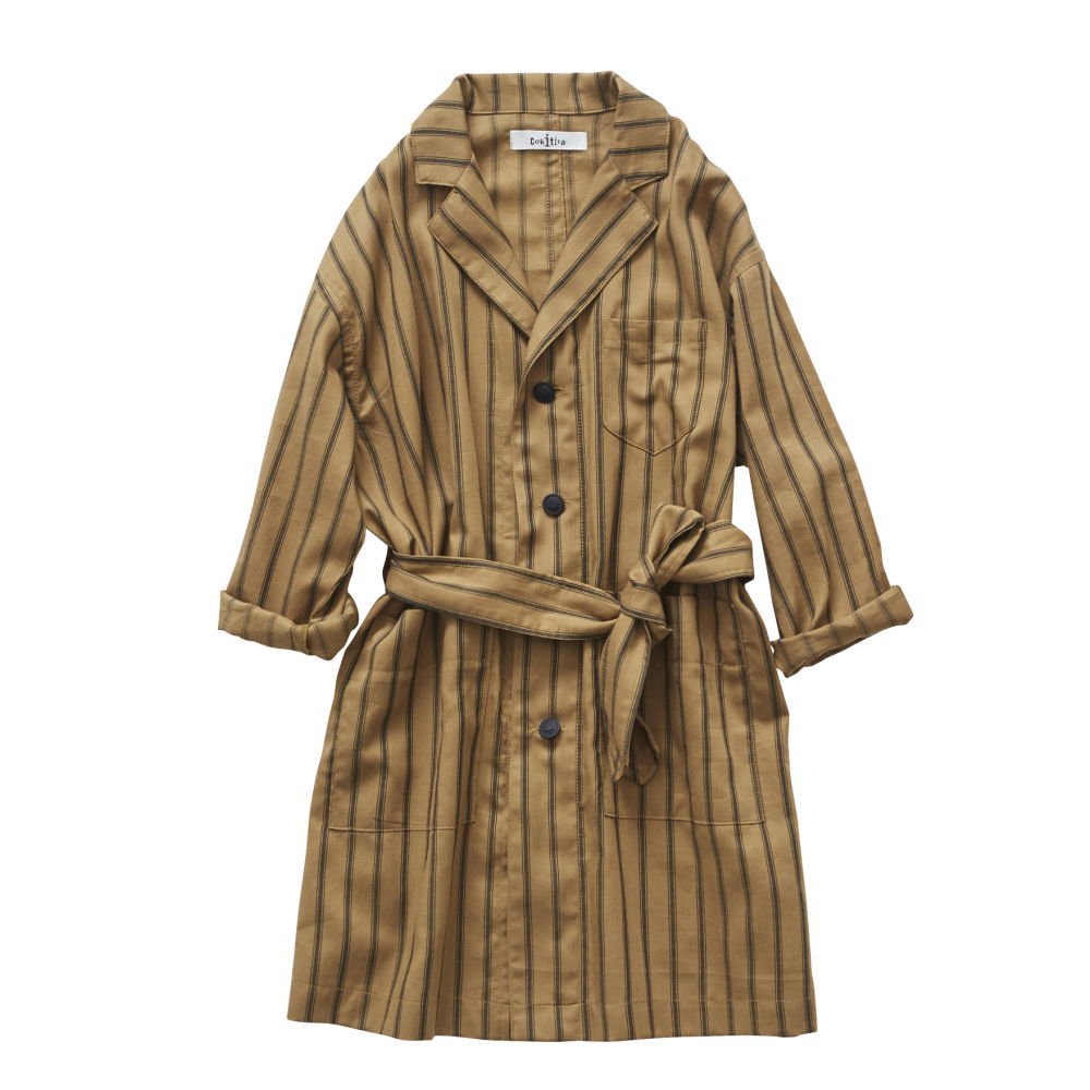 【MORE SALE 40%OFF】stripe gown coat camel img