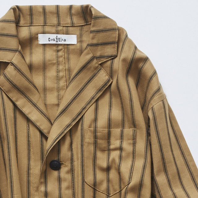 【MORE SALE 40%OFF】stripe gown coat camel img1