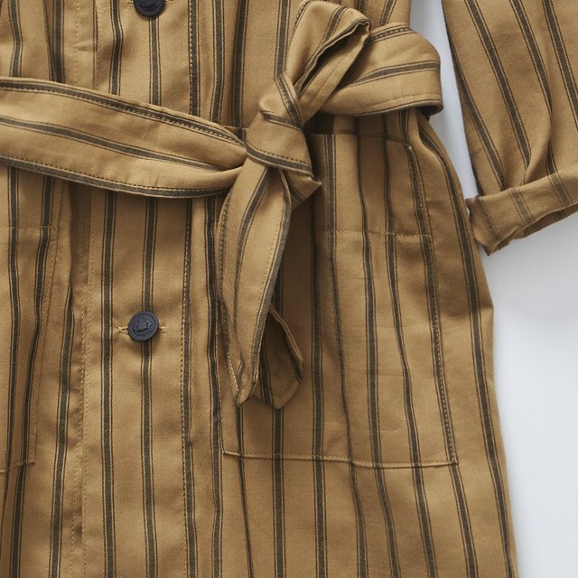 【MORE SALE 40%OFF】stripe gown coat camel img2