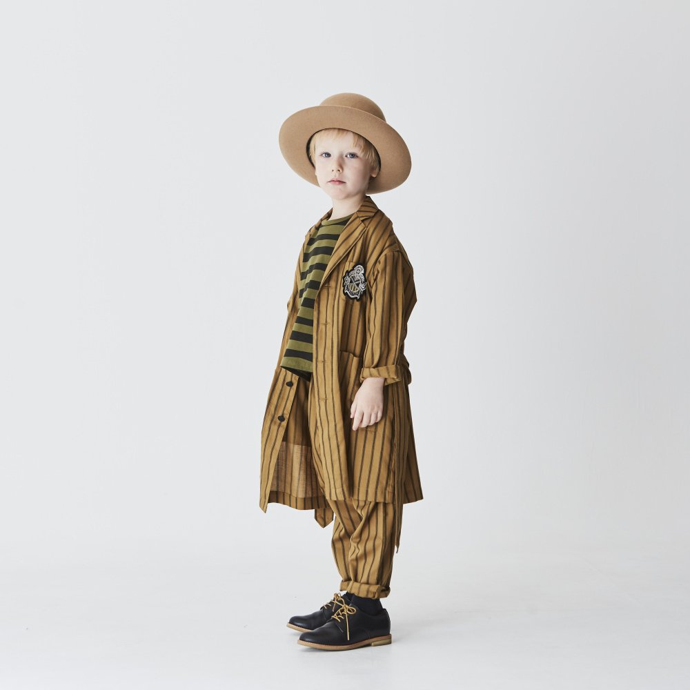 【MORE SALE 40%OFF】stripe gown coat camel img4