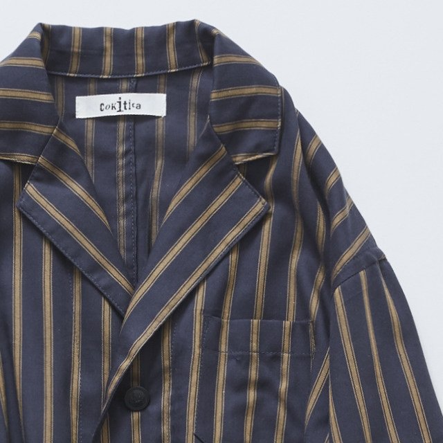 【MORE SALE 40%OFF】stripe gown coat charcoal img1