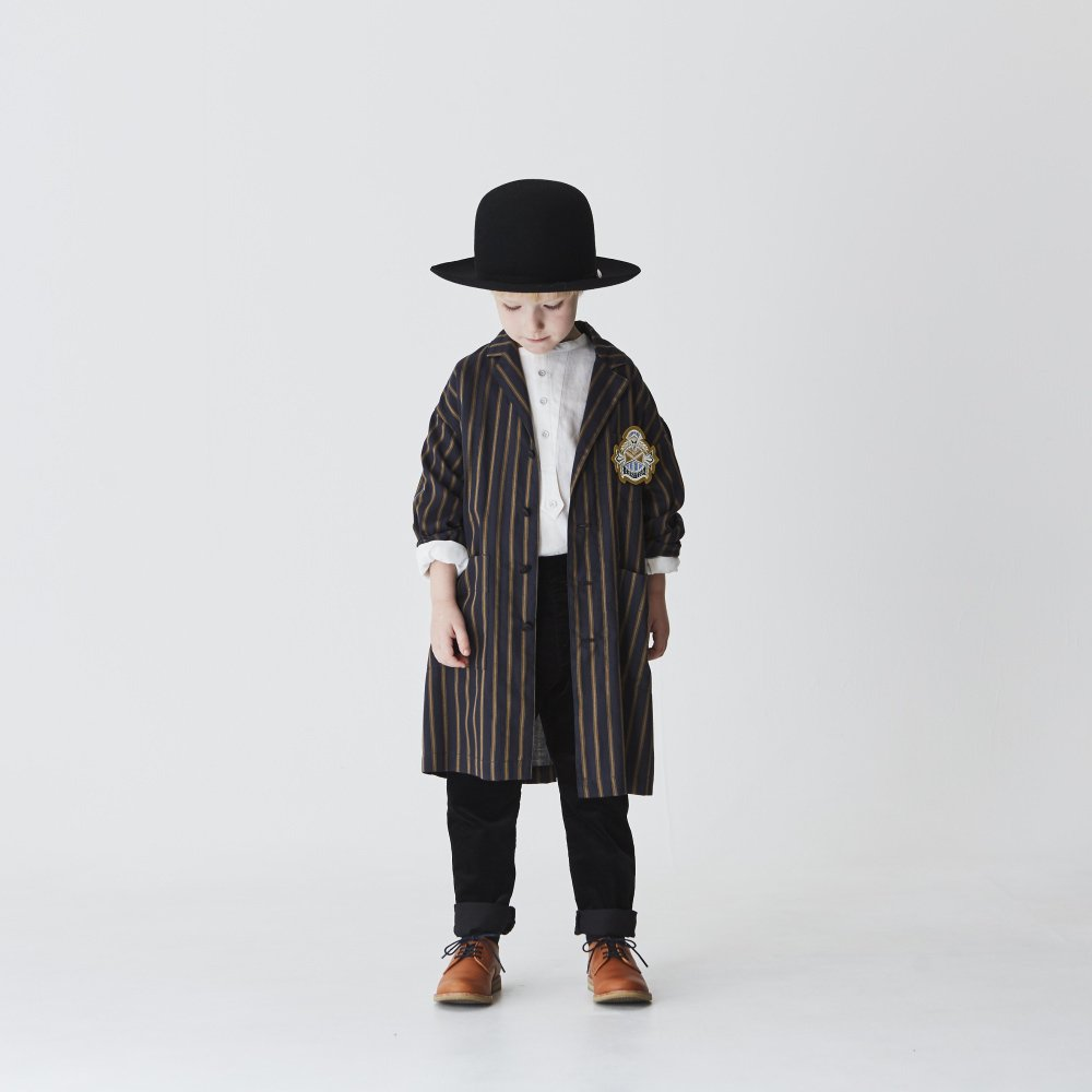 【MORE SALE 40%OFF】stripe gown coat charcoal img4