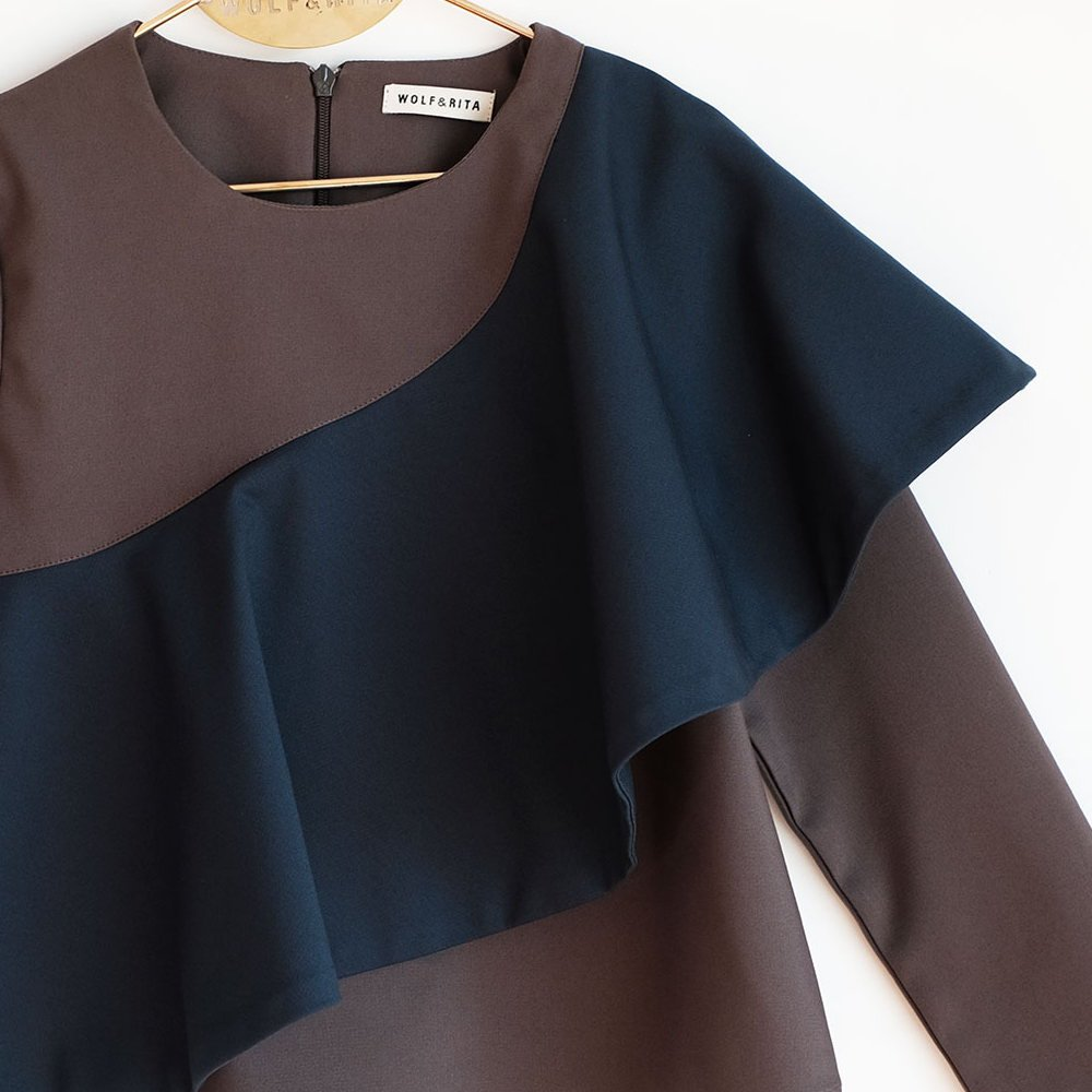 【MORE SALE 40%OFF】RITA Blouse GREY / BLUE img1