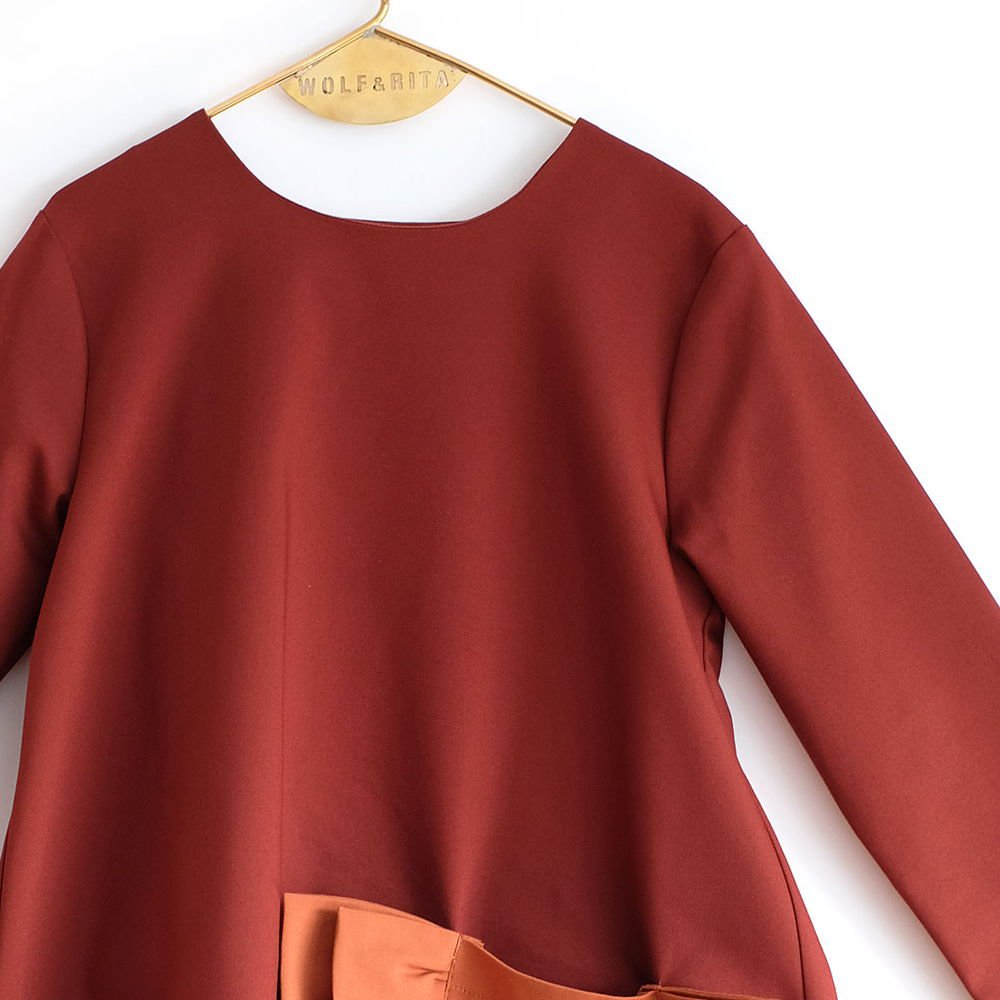 CLAUDIA Dress BORDEAUX /ORANGE img1