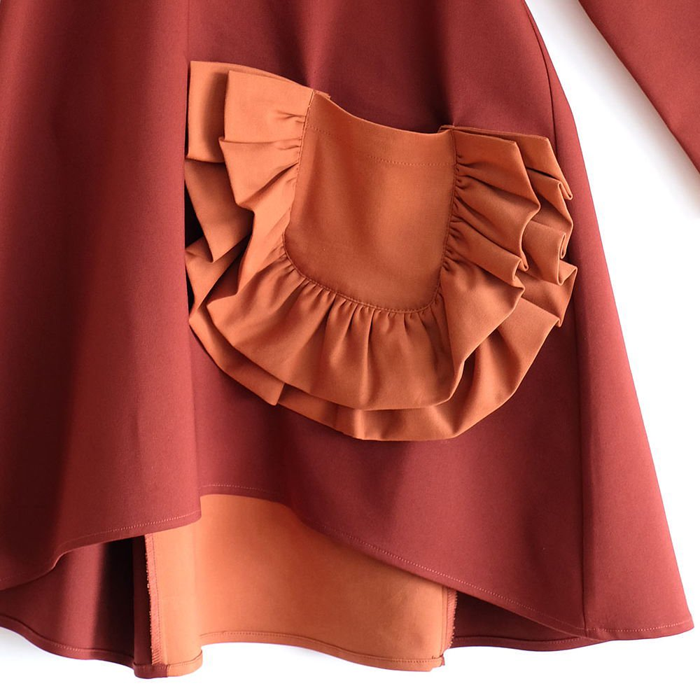 CLAUDIA Dress BORDEAUX /ORANGE img2