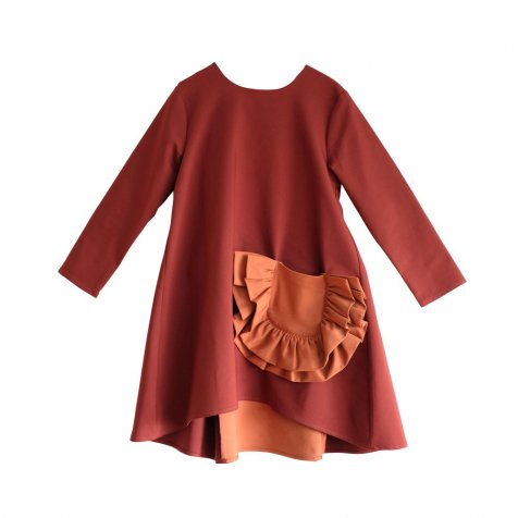 CLAUDIA Dress BORDEAUX /ORANGE