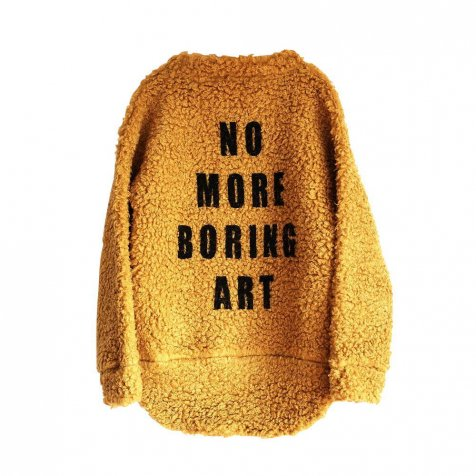 MONICA Jumper YELLOW FUR w PRINT
