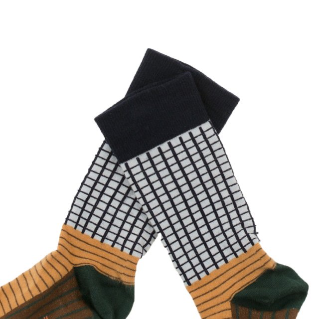 【MORE SALE 40%OFF】No.287 grid & lines high socks img1