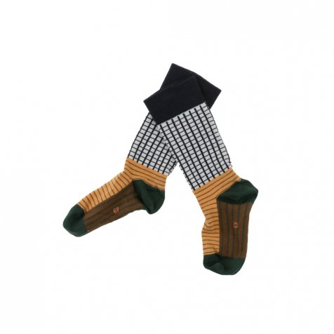 No.287 grid & lines high socks