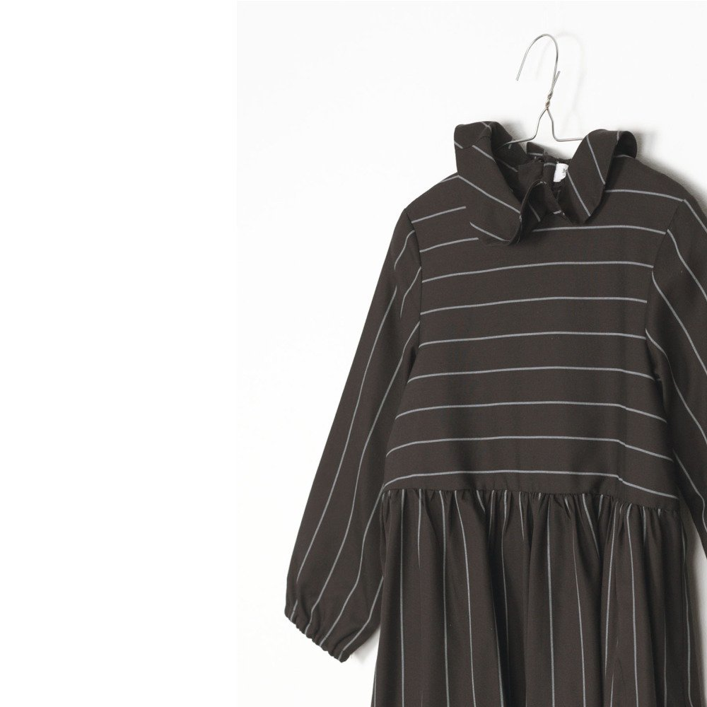 RITA DRESS Black with grey lines img3