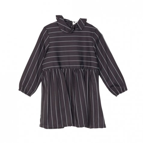 RITA DRESS Black with grey lines