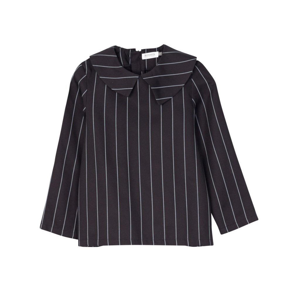 【SALE 40%OFF】ELMA BLOUSE Black with grey lines img