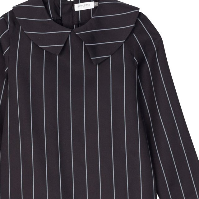 【SALE 40%OFF】ELMA BLOUSE Black with grey lines img1