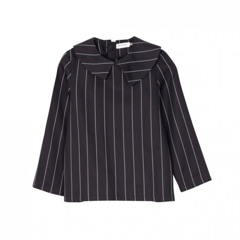 【MORE SALE 50%OFF】ELMA BLOUSE Black with grey lines