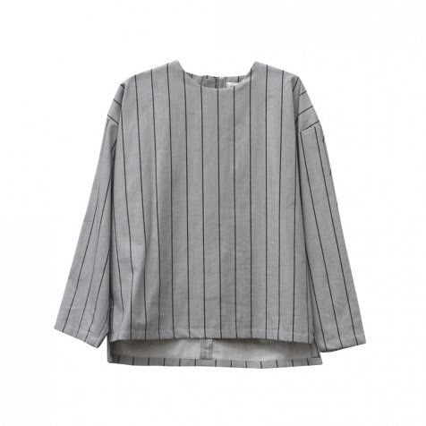 【MORE SALE 50%OFF】EVAN SHIRT Grey denim with black lines