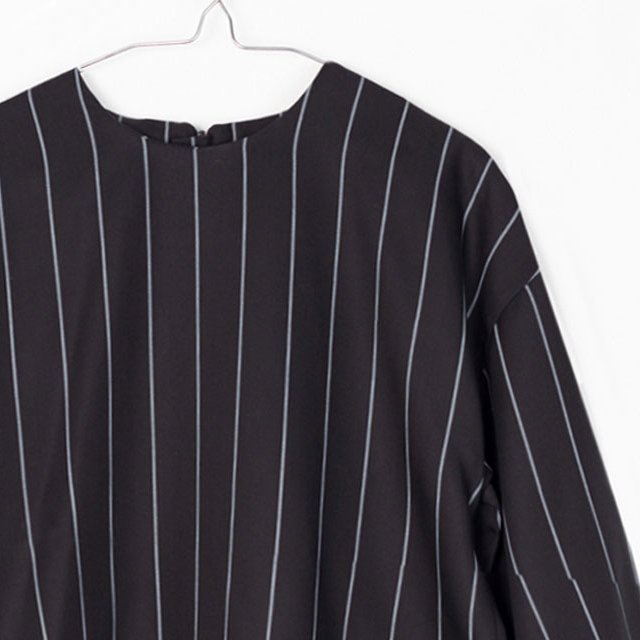 【SALE 40%OFF】EVAN SHIRT Black with grey lines img1