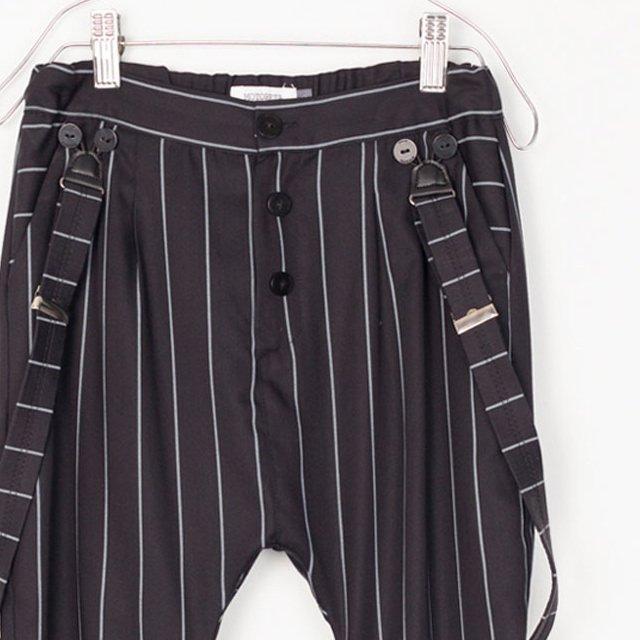 【SALE 40%OFF】PARIS BAGGY PANT Black with grey lines img1
