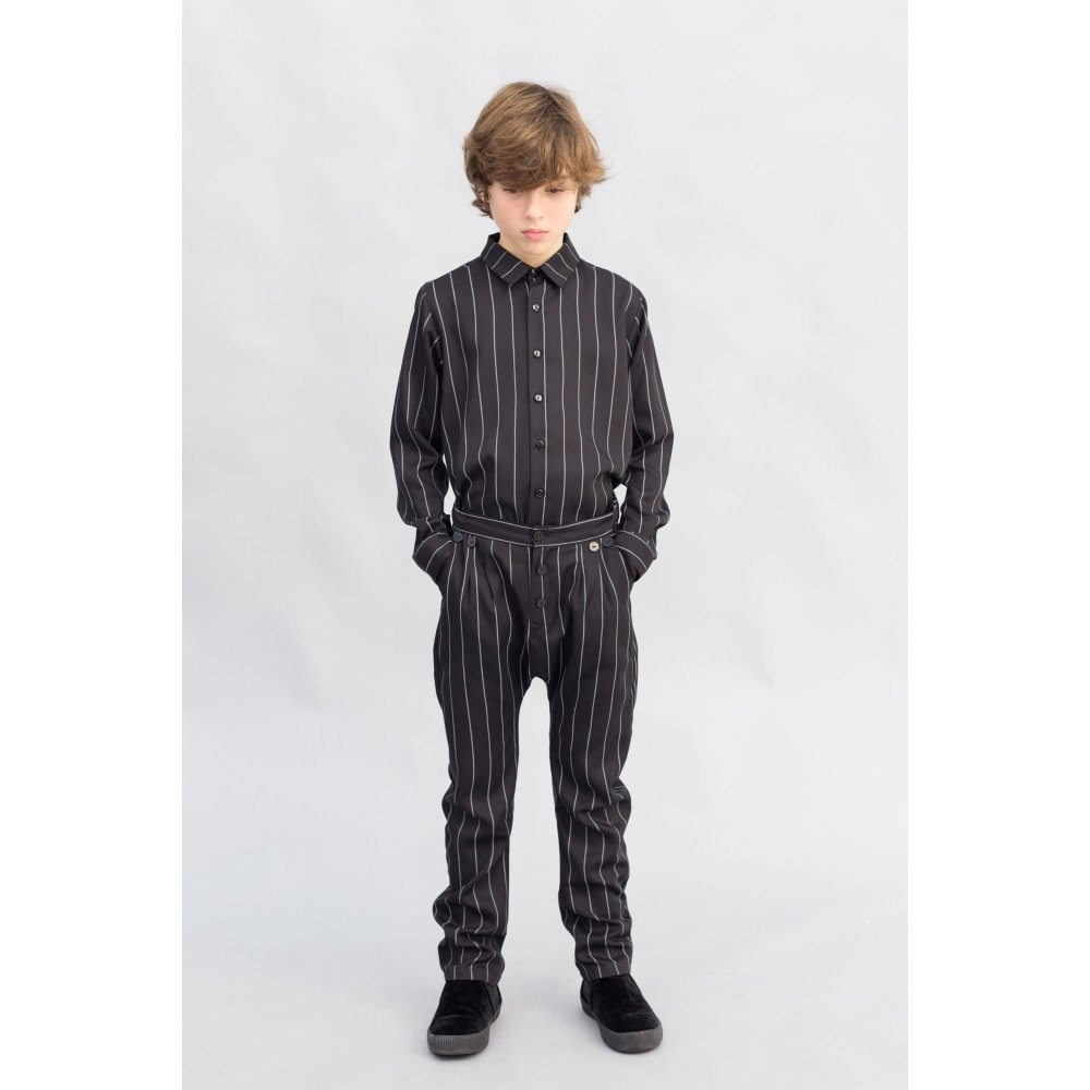 【SALE 40%OFF】PARIS BAGGY PANT Black with grey lines img6