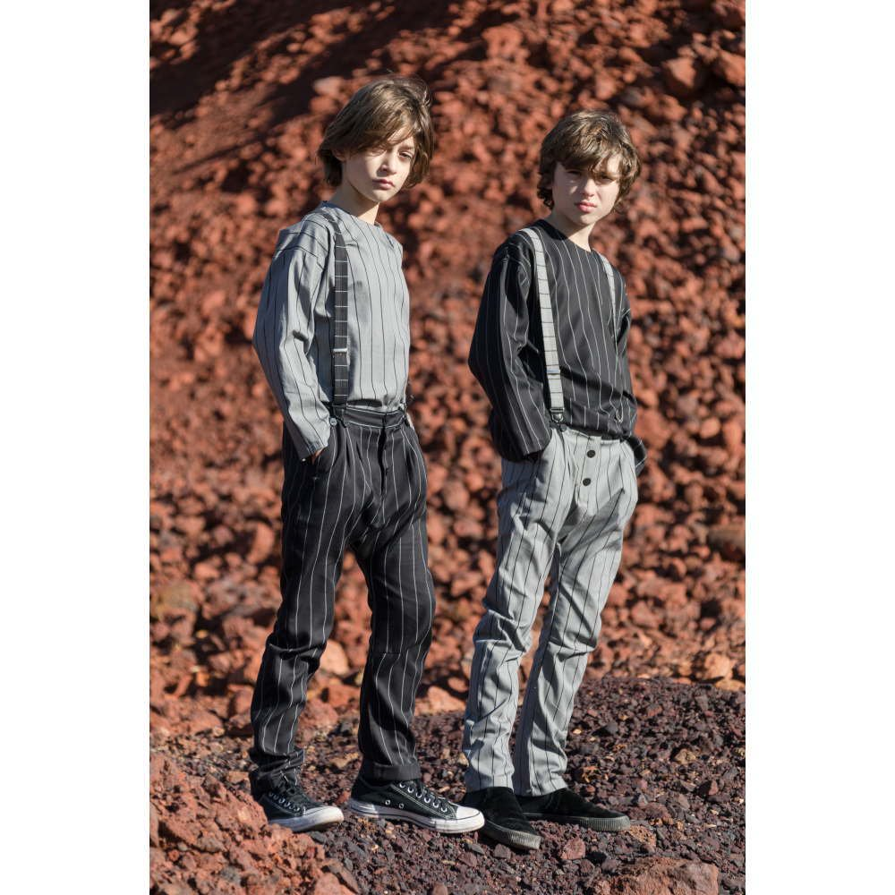 【SALE 40%OFF】PARIS BAGGY PANT Black with grey lines img9