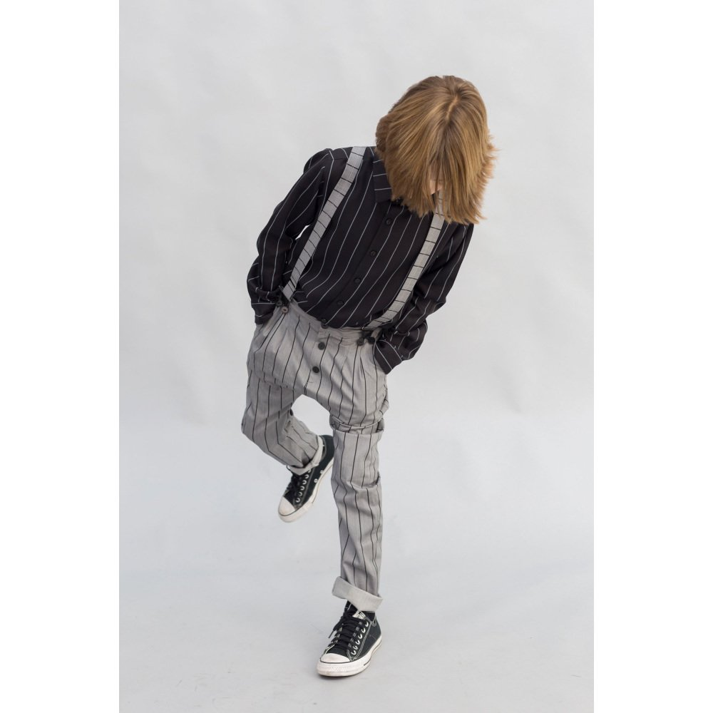 【SALE 40%OFF】PARIS BAGGY PANT Grey denim with black lines img5