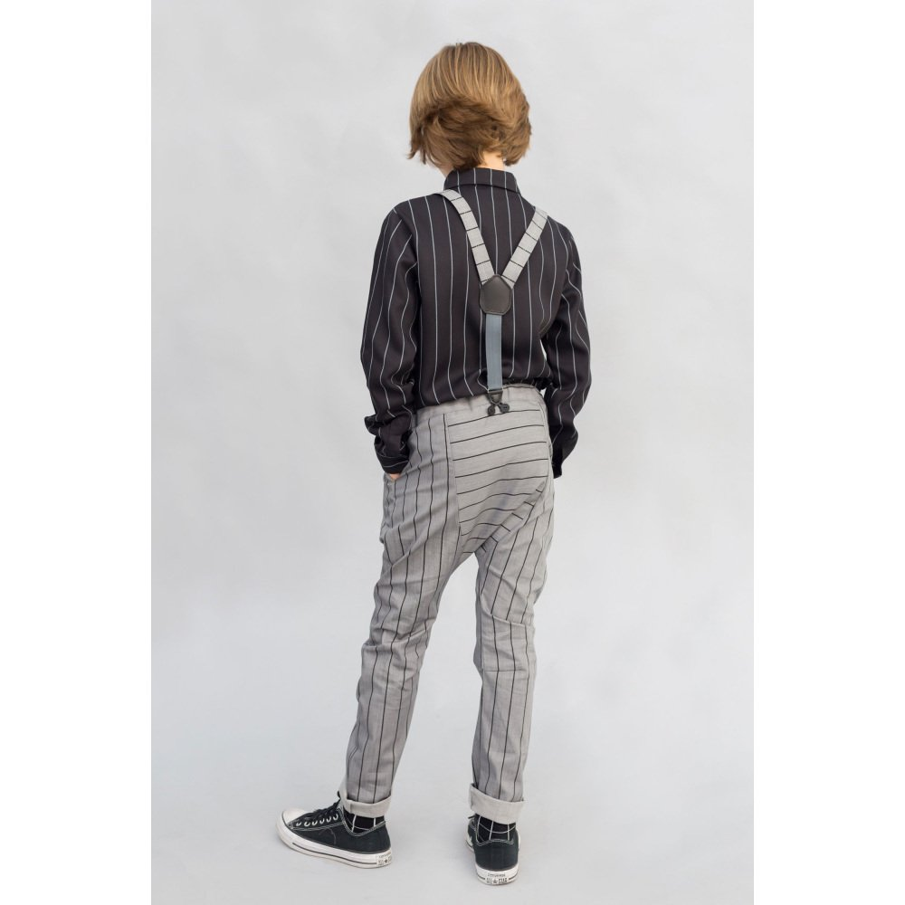 【SALE 40%OFF】PARIS BAGGY PANT Grey denim with black lines img6