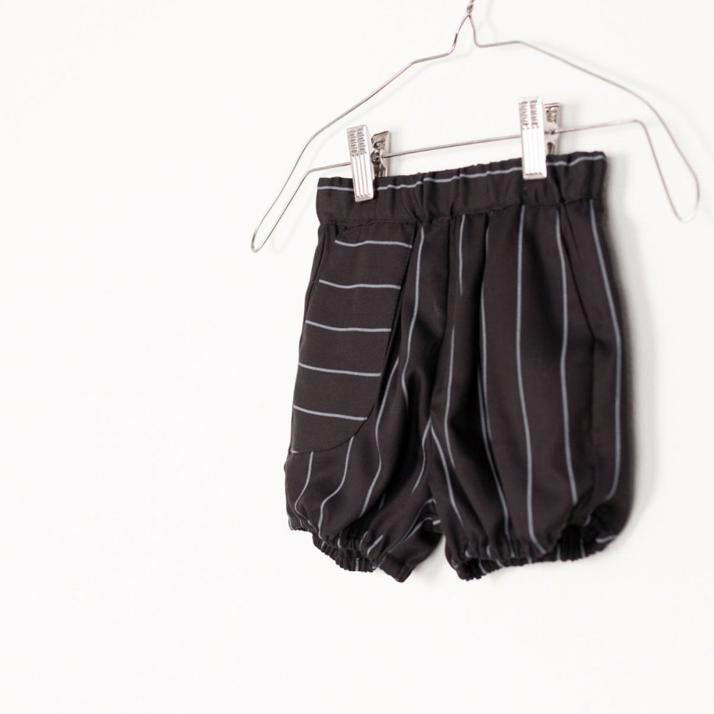 【SALE 40%OFF】APOLO SHORT Black with grey lines img3