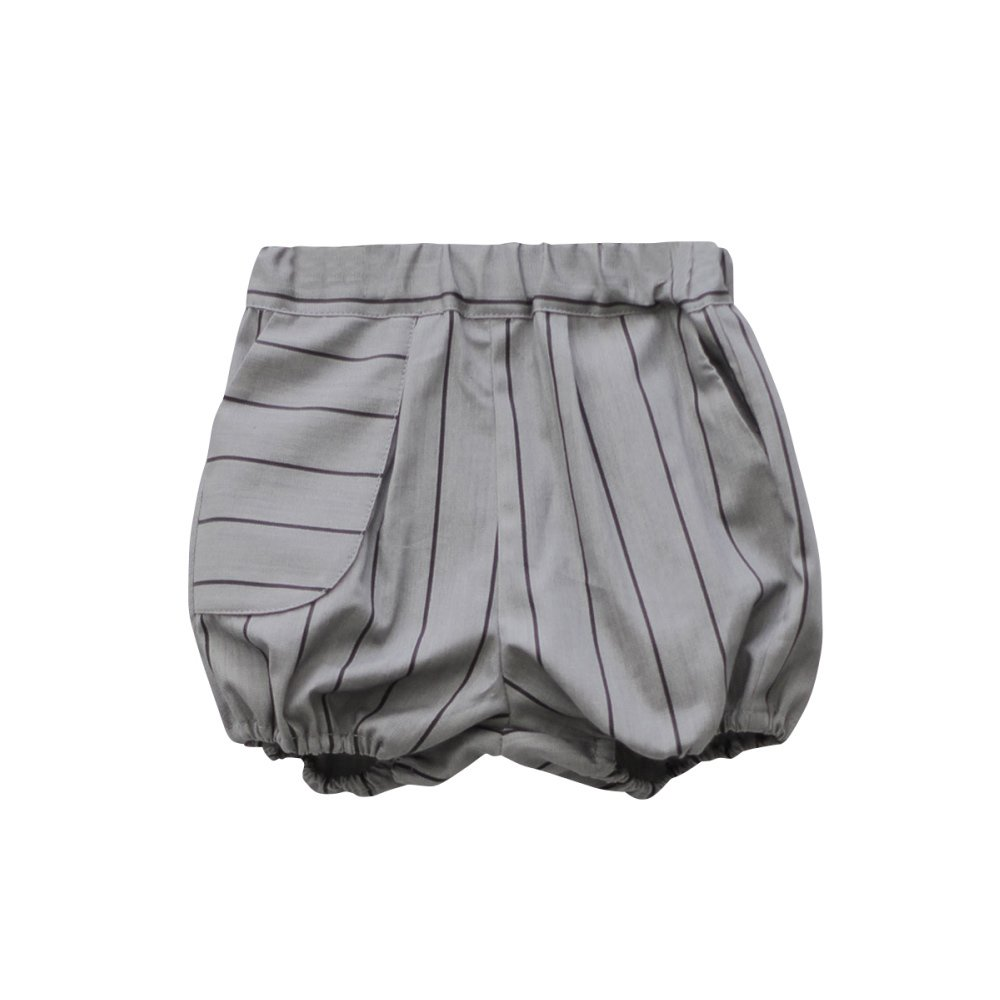 【MORE SALE 50%OFF】APOLO SHORT Grey denim with black lines img