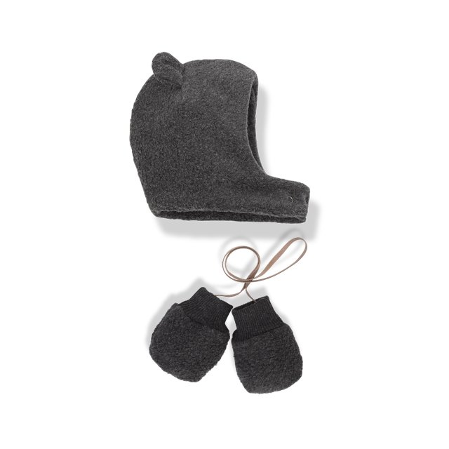 【SALE 30%OFF】LINUS bonnet & mittens ANTHRACITE img