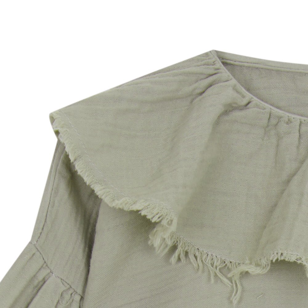 【MORE SALE 40%OFF】FLOUNCED BLOUSE Green grey img1
