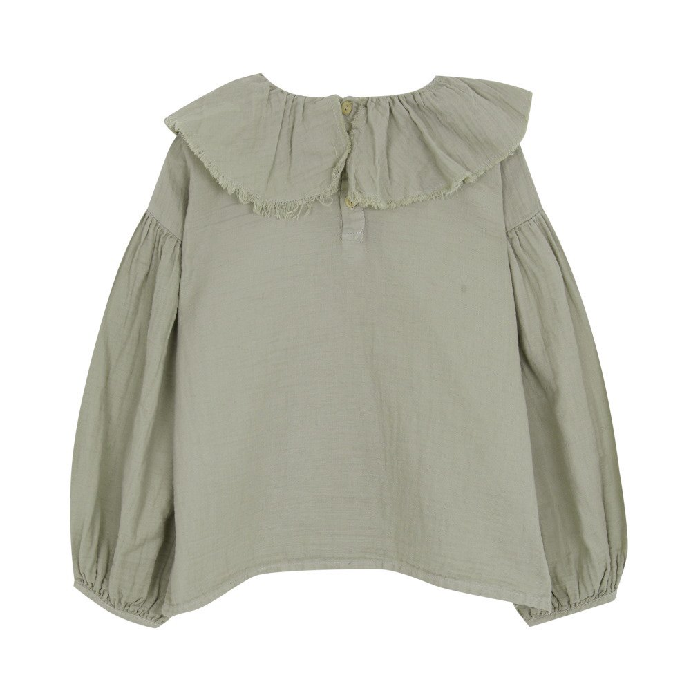 【MORE SALE 40%OFF】FLOUNCED BLOUSE Green grey img4