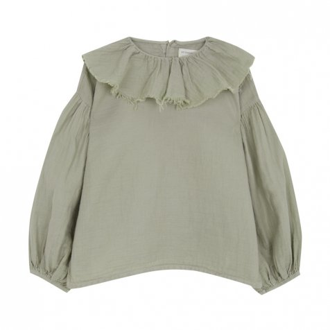【SALE 30%OFF】FLOUNCED BLOUSE Green grey