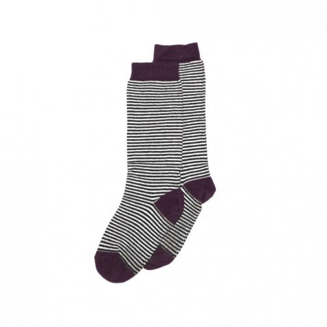 【入荷前ご予約販売】Knee sock striped and eggplant