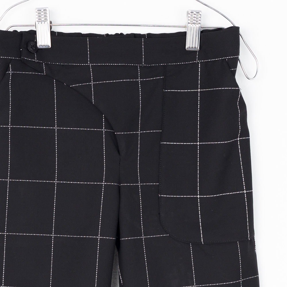 【SALE 30%OFF】POCKET PANTS Black & White Grid img1