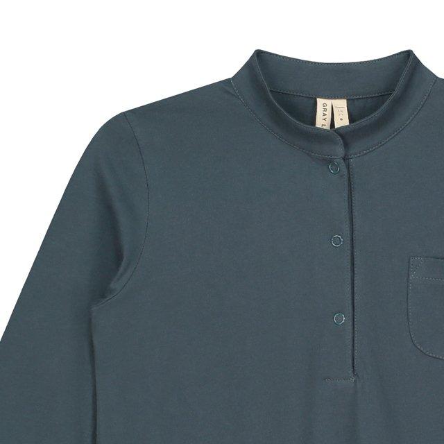 【50%OFF】3/4 Long Beach Shirt Blue Grey img1