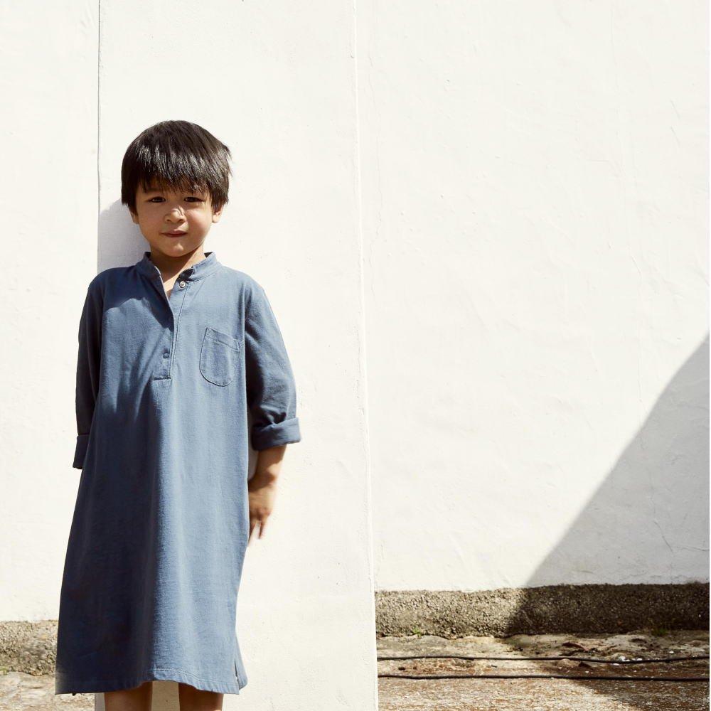 【50%OFF】3/4 Long Beach Shirt Blue Grey img6