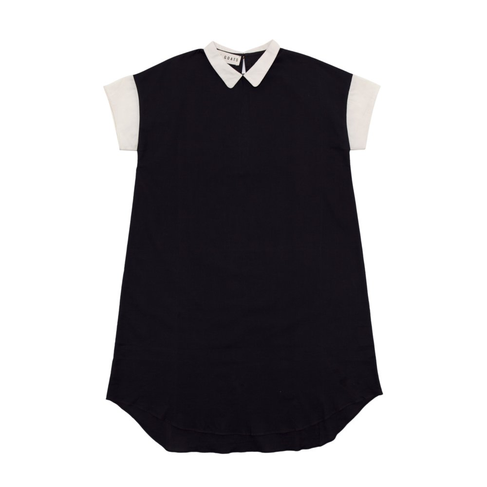 【SALE 30%OFF】Lunar Collar Dress Charcoal / Muted White img