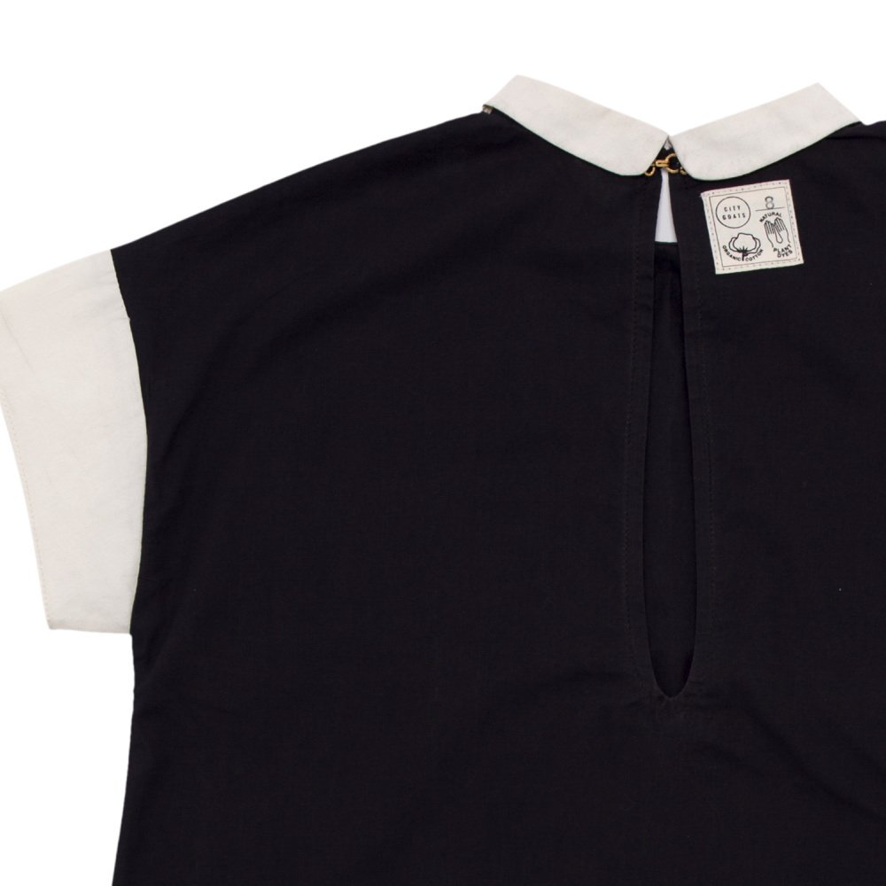 【SALE 30%OFF】Lunar Collar Dress Charcoal / Muted White img4