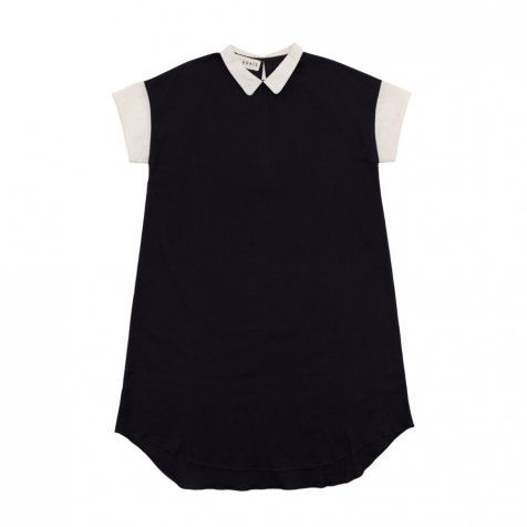 【SALE 30%OFF】Lunar Collar Dress Charcoal / Muted White