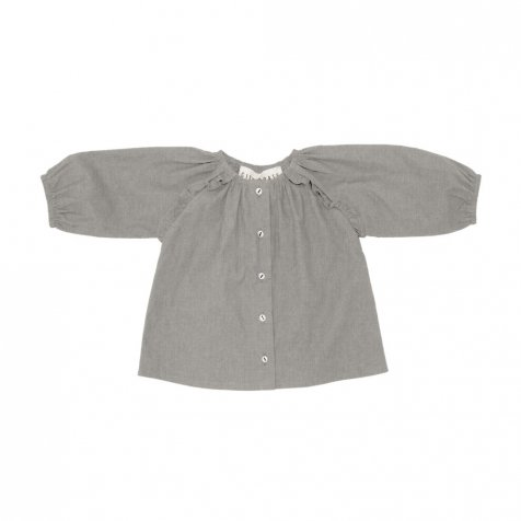 Taya Ruffled Top Natural Organic Linen