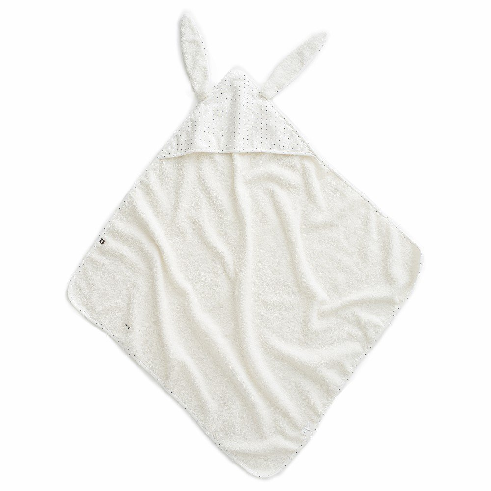 【SALE 30%OFF】Baby Hooded Towel White/Indigo Dots img